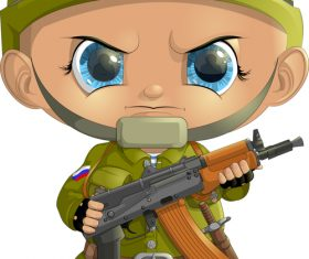 Russian soldier cartoon pattern vector