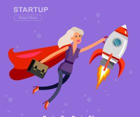 STARTUP cartoon illustration vector