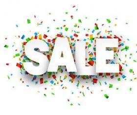 Sale font and confetti vector