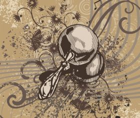 Sand hammer musical instrument grunge background vector