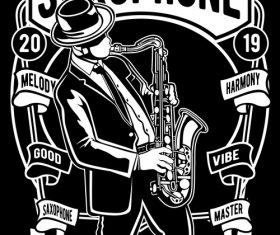 Saxophone emblem design illustrations vector