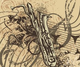 Saxophone grunge background vector