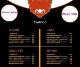 Seafood restaurant menu template vector
