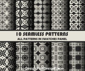 Seamless black background geometric pattern vector