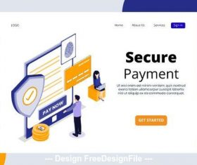 Secure payment isometric page vector