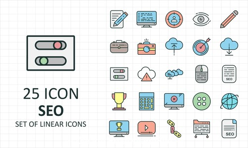 Seo set of linear icon collection vector