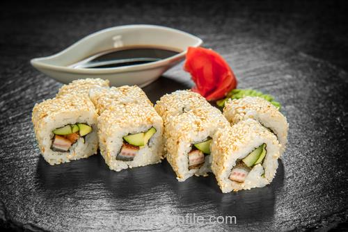 Sesame and sushi HD Photo