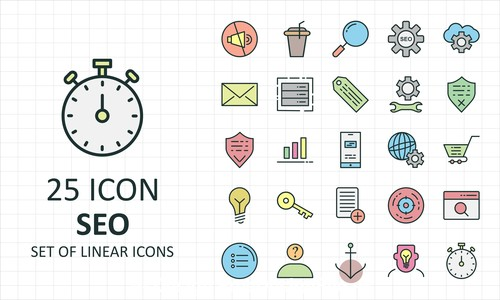 Set of linear icon collection vector