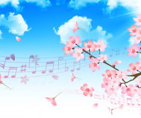 Sheet music and sakura illustration vector