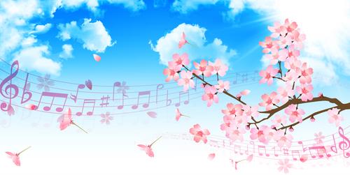 Sheet music and sakura illustration vector