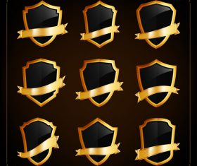 Shield and golden ribbon background vector