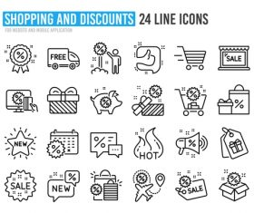 Shopping and discounts icon vector
