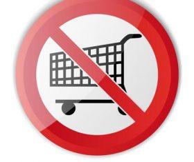 Shopping cart forbidden symbol vector