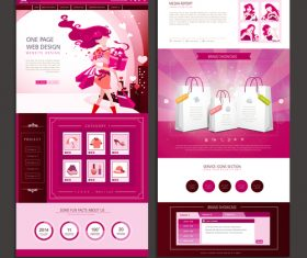 Shopping list page website design template vector