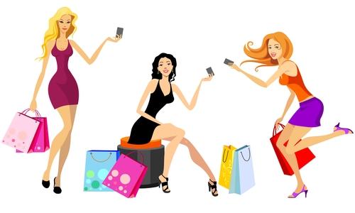 Shopping payment cartoon vector
