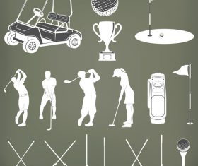 Silhouette golf element vector