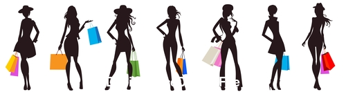 Silhouette shopping woman vector