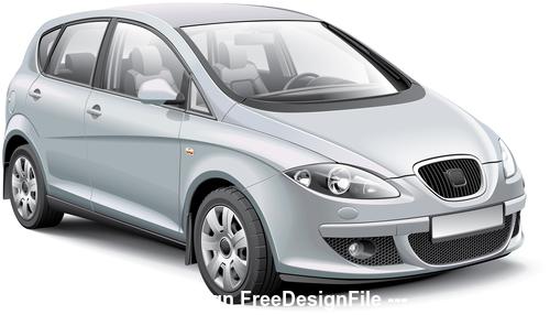 Silver car vector