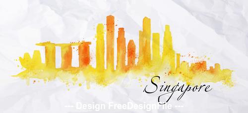 Singapore watercolor city silhouette vector