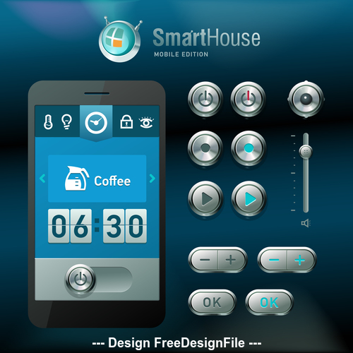 Smart house mobile edition vector template