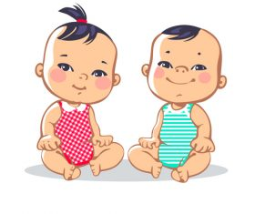 Smiling male and female babies vector