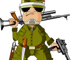 Soldier cartoon pattern vector