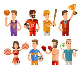 Sports player vector icons