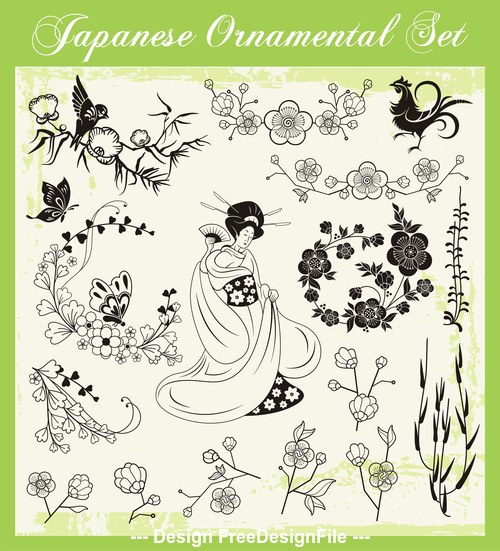 Spring travel woman traditional japanese decoration illustration vector