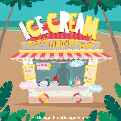 Stall on the beach with soda and ice cream vector