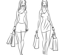 Stick figure bags female vector