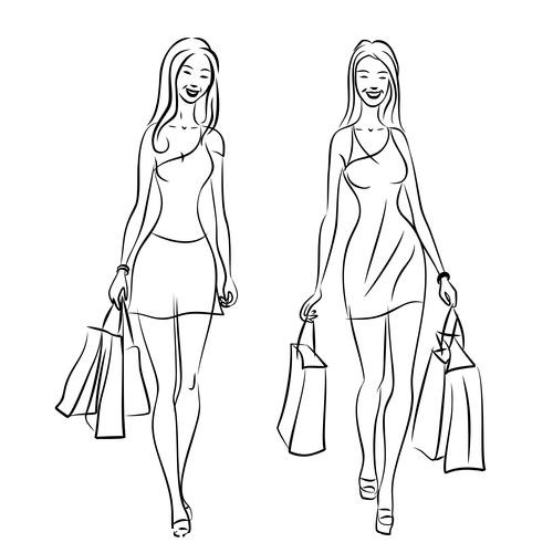 Stick figure bags female vector