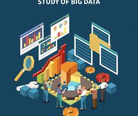 Study of big data illustration vector