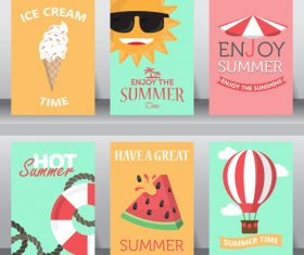 Summer element card collection vector
