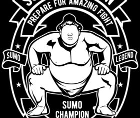 Sumo emblem design illustrations vector
