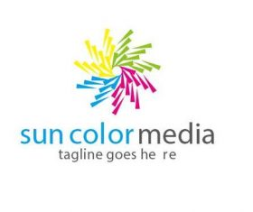 Sun color media logo vector