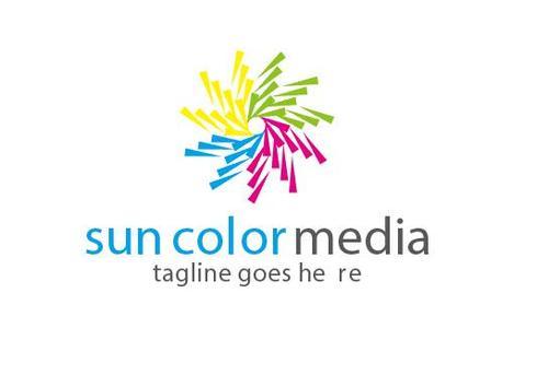 Sun color media logo vector