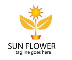 Sun flower logo vector