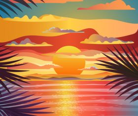 Sunrise nature landscape vector