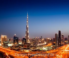 Sunset dubai downtown skyline with tallest stock photo