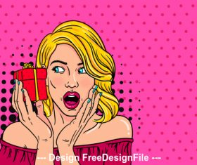 Surprised woman receiving gift cartoon illustration vector