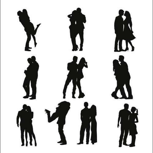 Sweet couple silhouette vector