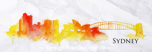Sydney watercolor city silhouette vector