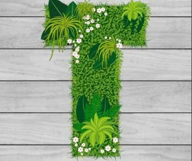T floral letters vector
