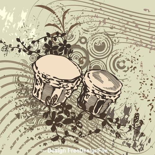 Tambourine grunge music instrument vector