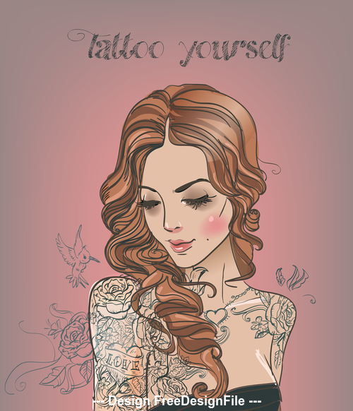 Tattoo women vector