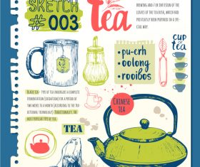 Tea sketch illustration vector