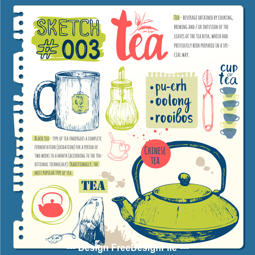 Tea sketch illustration vector
