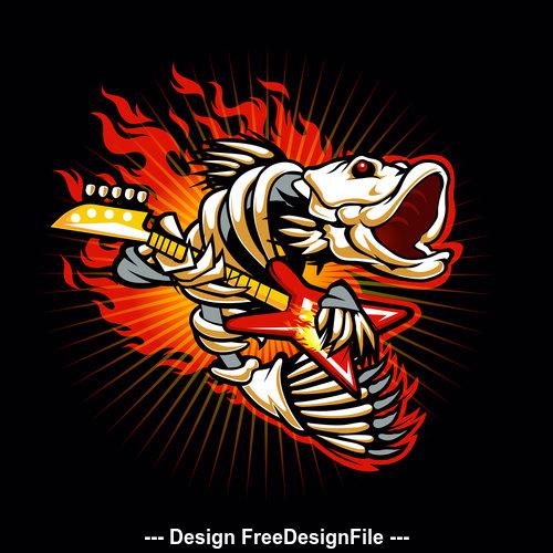 The hot fish logo vector