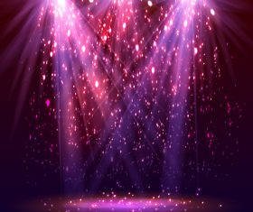 Three beams stage spotlight background vector