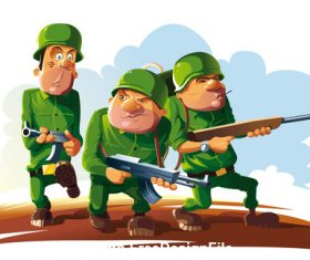 Three funny soldiers vector